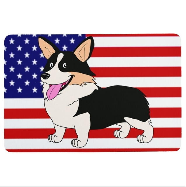 Welsh Corgi With American Flag Door Mat ,Dog Door Mats Outdoor ,Cute Carpet  For