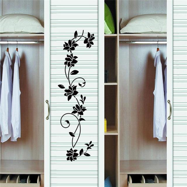 30105cm Wall Sticker Flower Vine Decals Black Mural Removable Vinyl