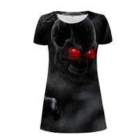 Noisy Designs Punk Skull Women Dress Short Sleeved Woman Summer Dresses O Neck Bodybuidling Female Casual