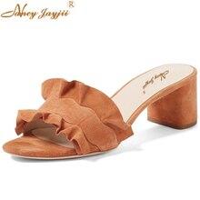 Brown Black Ruffles Slippers Med Square Heels Sandals Woman Summer Women Flock Slides Mules Indoor Shoes Rihanna 5cm Nancyjayjii