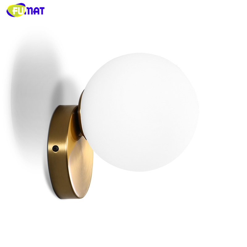 FUMAT Glass Wall Lamps Modern Brief White Glass Ball Wall Lights Living room Bedside Wall Lamp Sconces LED Gold body Lights modern led wall lamp gold body glass dining room wall lamps cafe bedroom lights glass wall light e27 bedside lamp ac90 260v