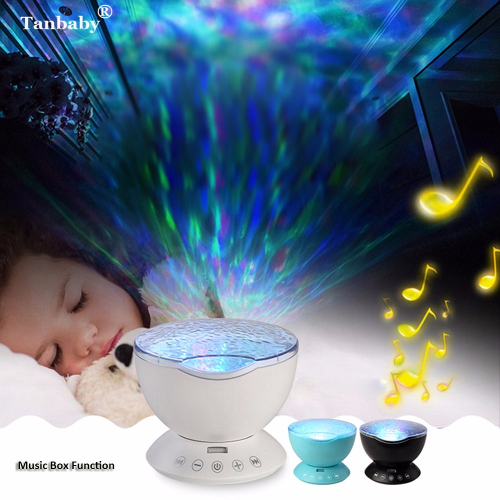 Tanbaby Starry Sky Aurora Night Light with Music Remote Control Hypnosis Ocean Sea Wave LED Projector&Speaker Rainbow For Baby