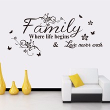 Family Wall Sticker Where life begins Love never ends Quote Art Home Mural Decor Decal Vinyl AY321