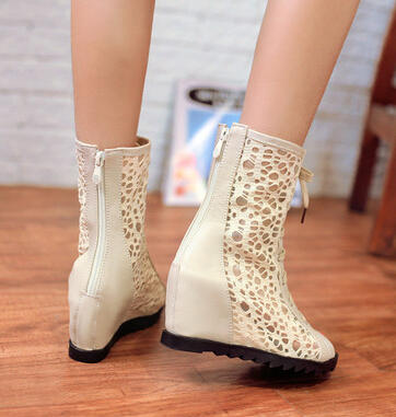 Shoes Boots The-Fish-Head Cool Fashion Ladies' Slope Lace Spring with Custom-Made Large-Size