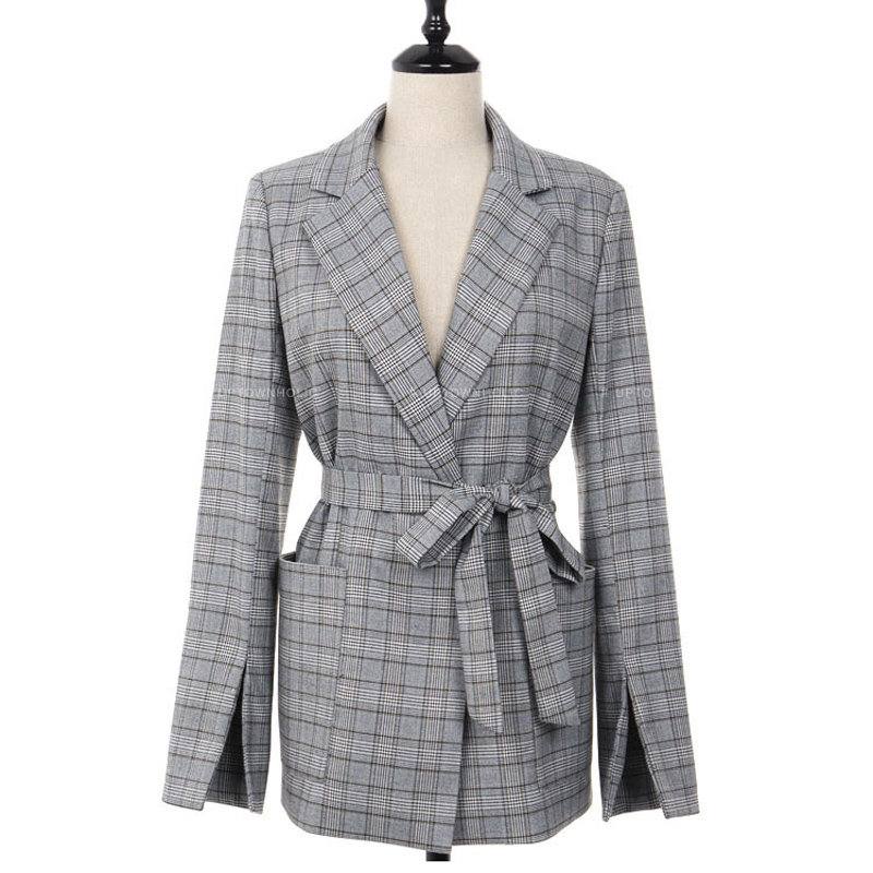 Spring Autumn Women Gray Plaid Office Lady Blazer Fashion Bow Sashes Split Sleeve Jackets Elegant Work Blazers Feminino 9