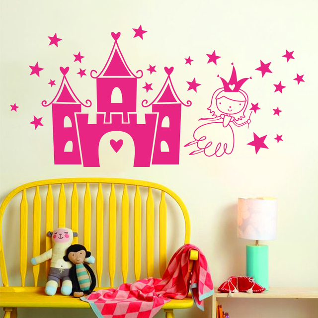 Art design home decoration princess flying in castle cartoon wall ...