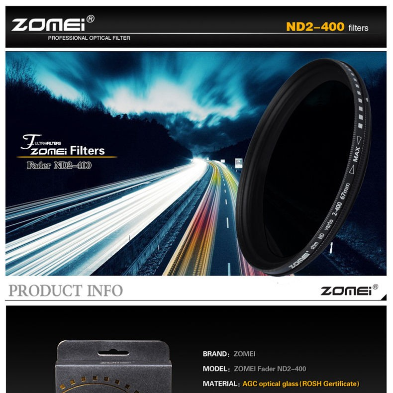 Zomei 49/52/55/58/62/67/72/77/82 Fader Variable ND Filter Adjustable 9-Stops ND2-400 Neutral Density Lens Filter for DSLR Camera 3