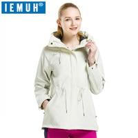 IEMUH Brand Women Autumn Winter Waterproof Softshell Jacket Female Outdoor Inner Fleece Windproof Breathable Hiking Long