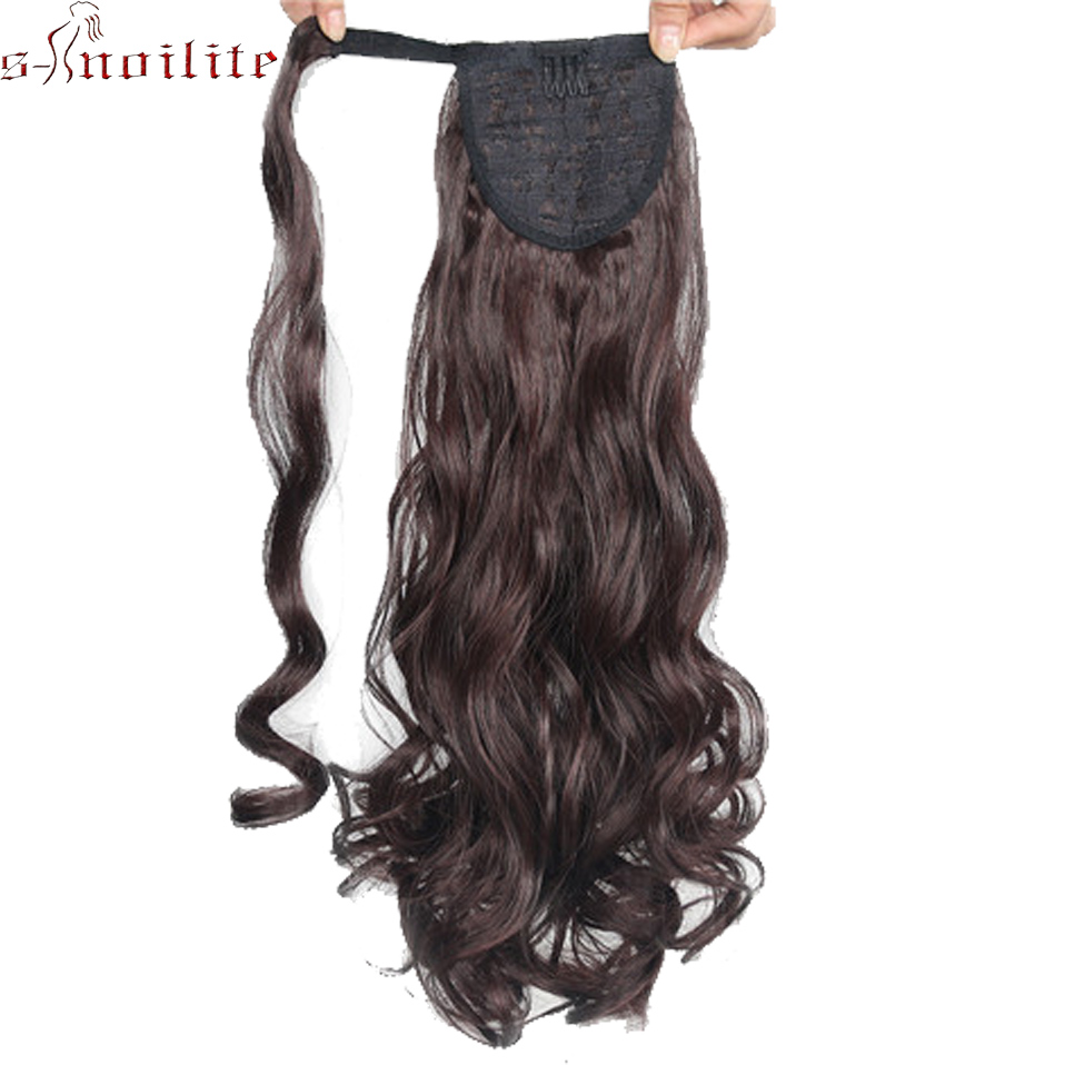 Synthetic Ponytails Synthetic Extensions 20inch 50cm Long Curly Ponytail Brownish Black Dark Brown Drawstring Clip-in Pony Tail Synthetic Fake Hair Extension Mapofbeauty