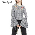 Lace trumpet sleeve plaid  top striped shirt with Long sleeve blouse shirt women tops 2017 summer chemise femme casual blusas