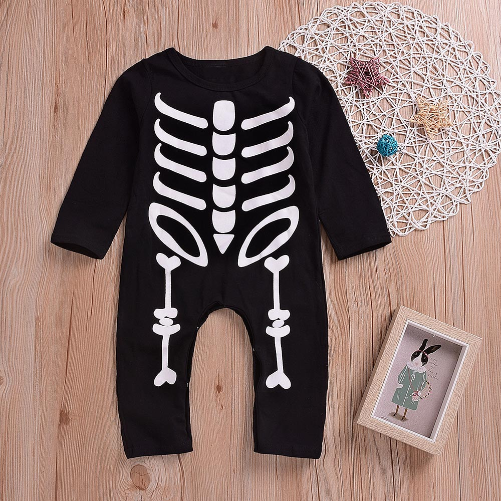 Halloween Toddler Baby Casual Long Sleeves O-Neck O-Neck Skull Print   Romper   Infant Jumpsuit