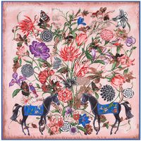 130cm 130cm New Flower Horse Woman 100 Silk Winter Scarf Luxury Brand 2017 Scarves For Women
