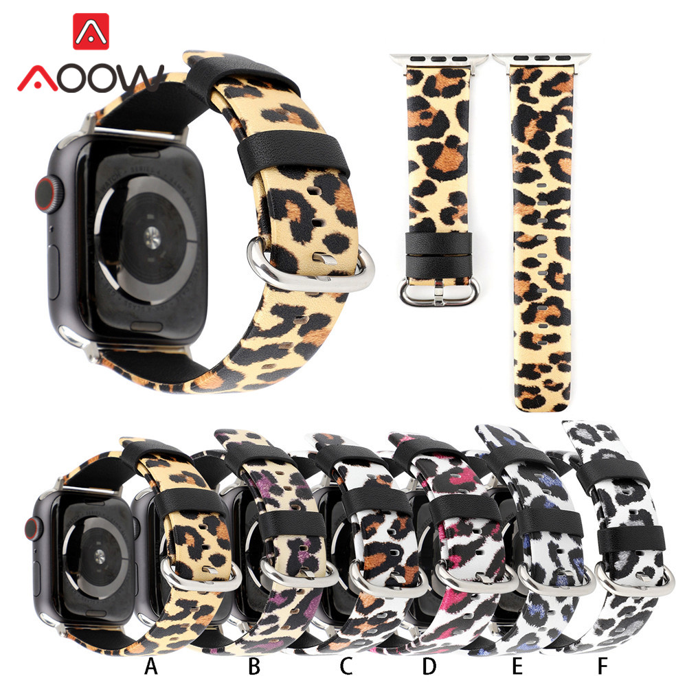 Genuine Leather Watchband For Apple Watch 38mm 42mm Fashion Leopard Printing 40mm 44mm Replacement Band Strap for iwatch 1 2 3 4Genuine Leather Watchband For Apple Watch 38mm 42mm Fashion Leopard Printing 40mm 44mm Replacement Band Strap for iwatch 1 2 3 4