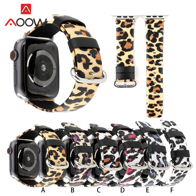 Genuine Leather Watchband For Apple Watch 38mm 42mm Fashion Leopard Printing 40mm 44mm Replacement Band Strap for iwatch 1 2 3 4