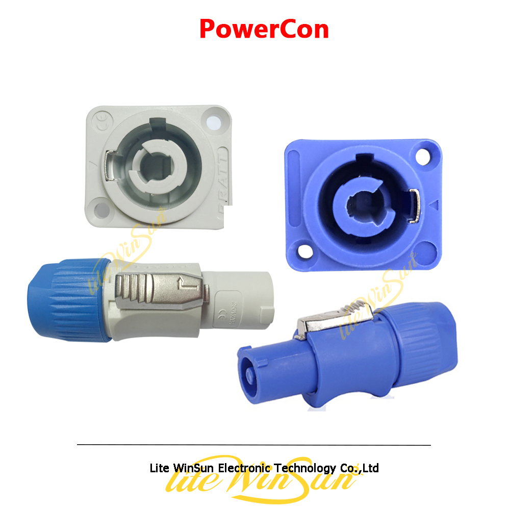 Litewinsune Free Ship Stage Lighting Sound PowerCon Grey Blue Cable Input Output Connector Chassis Plug Panel Connector