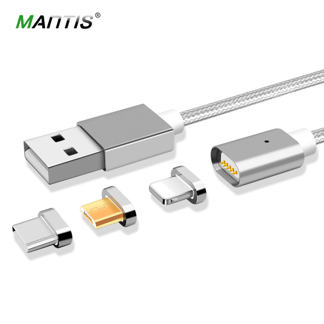 MANTIS 3 in 1 Magnetic Cable for iPhone Micro USB Type C Fast Charge 1M Nylon Sync Mobile Phone Charging Cables for Samsung