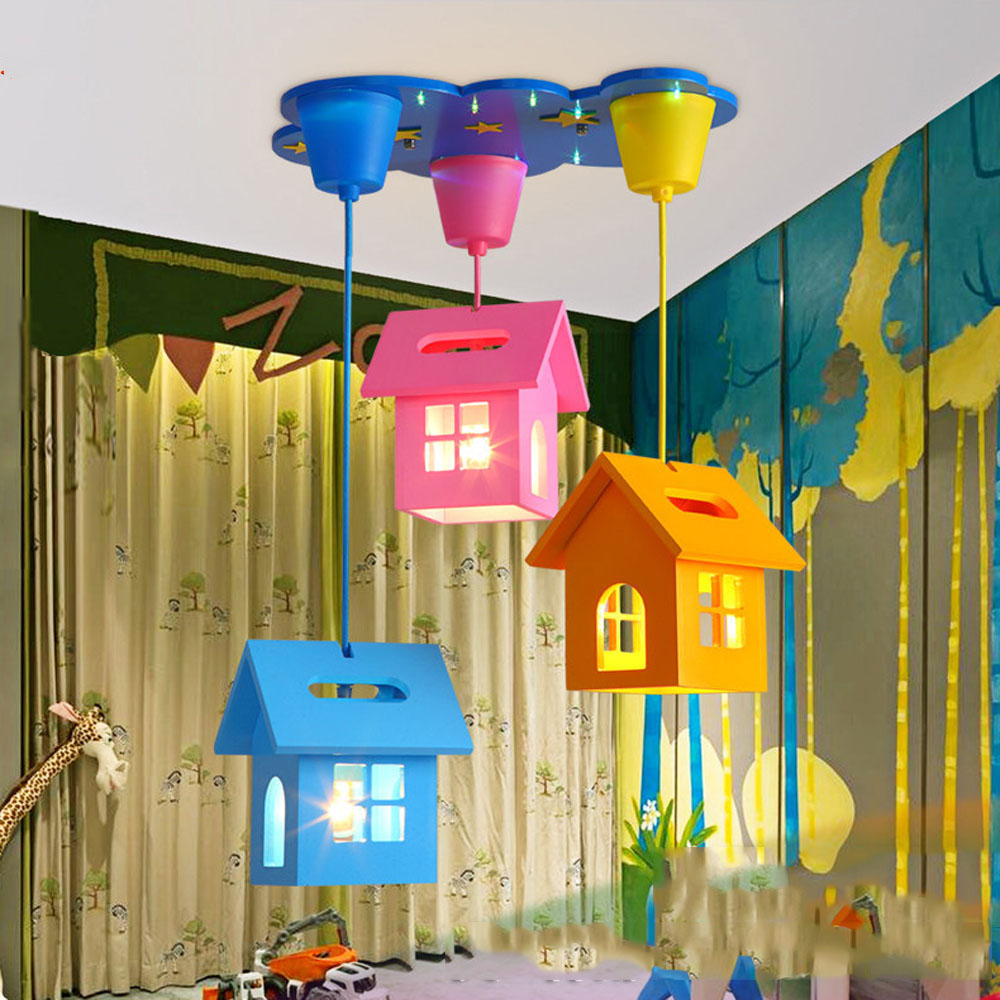 ModernSimple Cartoon Creative Small House Led Chandelier Children Room Warm Bedroom  Lovely Lighting 110-220vpendant Lamp Baby led chandeliers creative cartoon aircraft led lamp children boy bedroom lamp study chandelier lighting