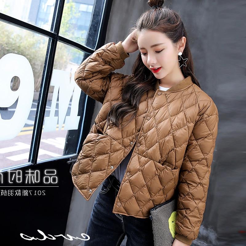 2018 Winter Women Light Baseball   Down   Jacket Autumn Warm White Duck   Down     Coat   Female   Down   Jacket Parkas