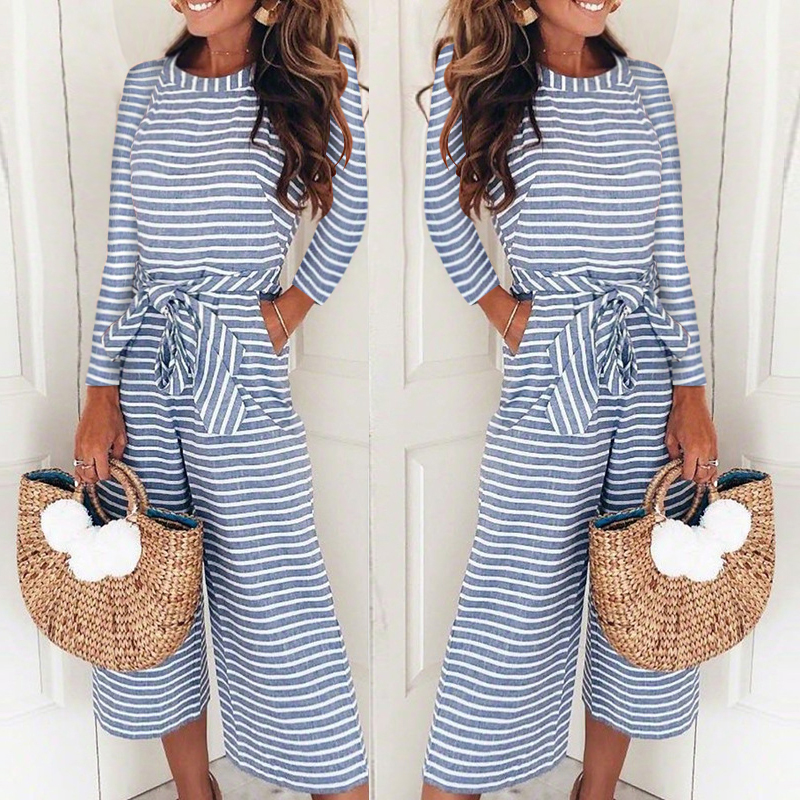 Women Summer Striped Wide Leg Holiday   Jumpsuit   Playsuit Culotte Size 6-16