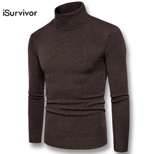 iSurvivor Men Turtleneck Knitted Slim Fitted Sweaters Pullovers Outwear Male Casual Fashion Large Size Solid Color Sweaters Men