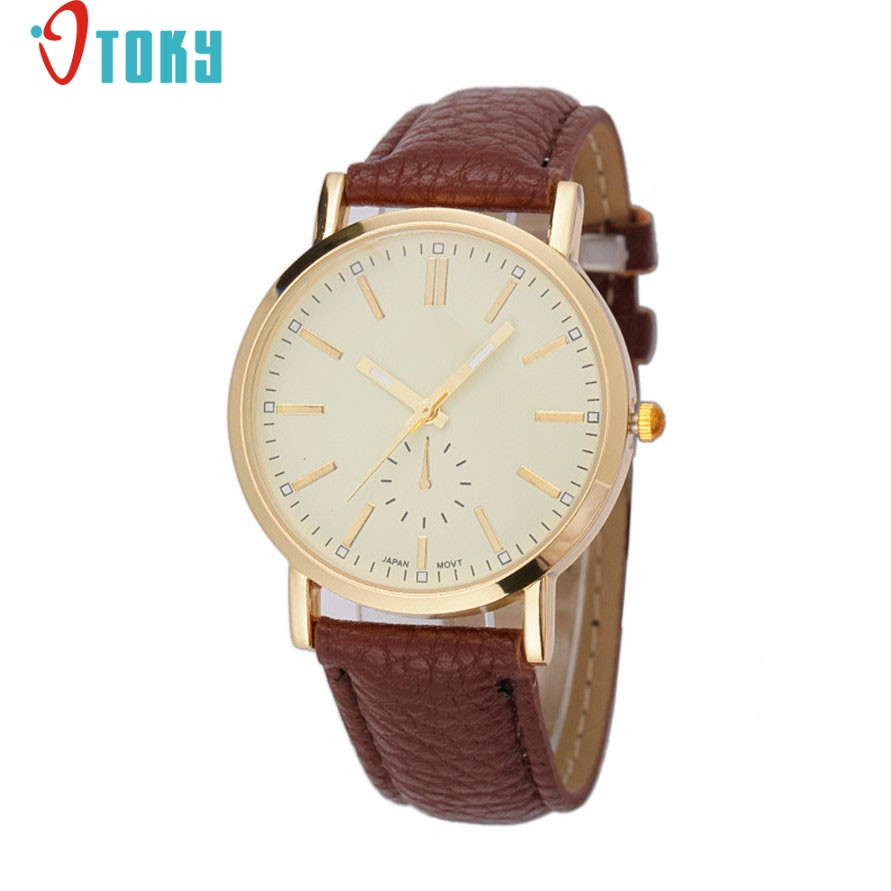 OTOKY Willby Unisex Watch Men Women Analog Quartz Brown Leather Wrist Watches 161226 Drop Shipping daybird 3803 fashionable women s quartz analog wrist watch brown coffee 1 x lr626
