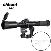 ohhunt Tactical 6X42D Sight Optical Red Illuminated SVD SKS AK Rifle Scope POS 1 Glass Etched Reticle Hunting Sniper RifleScopes