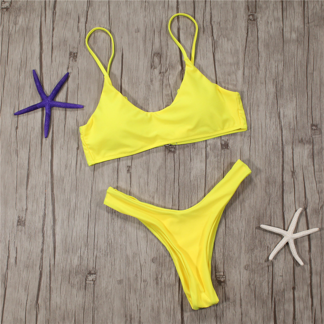 Yellow Brazilian Bikini Set High Cut Halter Crop Top Thong Swimsuit Swimwear Solid Padded America Retro Swiming Suit Beachwear
