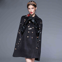 High Quality 2017 Women Winter Cloak Coats Double Breasted Luxury Button Floral Embroidery Wool Vintage Coat