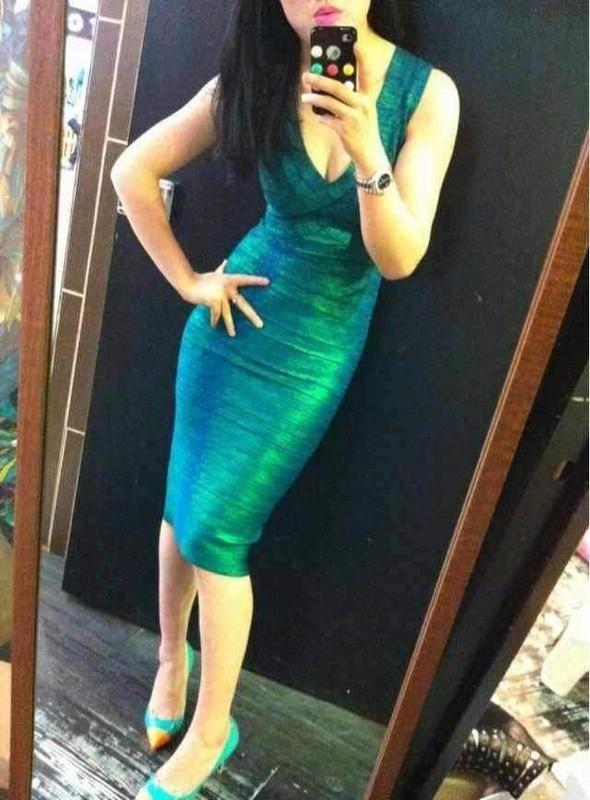 2016 new Gold Red Green Metallic Peach Neck Knee Length Sexy Women Bodycon 2 Bandage Dress