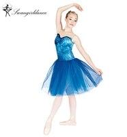 women performance stage dance costume ballet tutu dress blue romantic ballerina dress BL0031