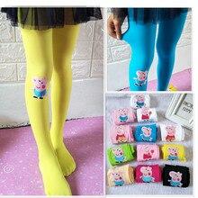 Kaguster Baby Girls dancing perform Soft Tights  Pantyhose elastic velvet cartoon kids girls silk printed stocking