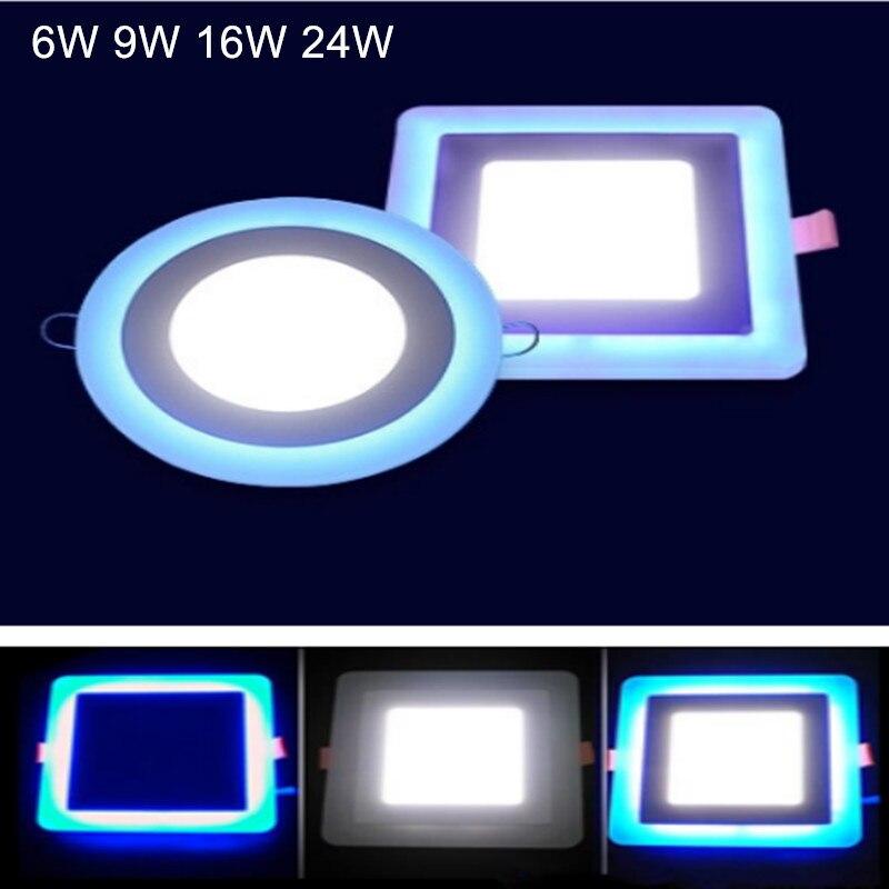 6 W 12 W 16 W 24 W led plafond encastré panneau lumineux peinture lampe décoration ronde panneau led carré Downlight bleu + blanc 2 couleur