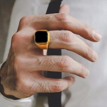 Dignified Black Carnelian Stainless Steel Golden Square Signet Ring for Men Pinky Rings Male Wealth and Rich Status Jewelry(China)