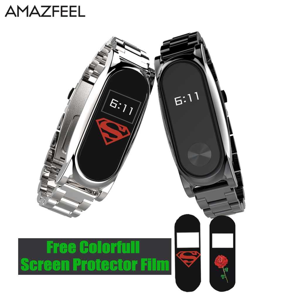 AMAZFEEL Mi Band 2 Wristband Metal Strap For Xiaomi Mi Band 2 Strap Screwless Stainless Steel Bracelet MiBand 2 Replace Belt