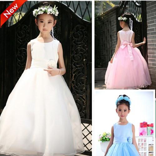 2016 Niños Del Vestido de Boda Para Las Niñas 140 Damas de Honor Infantil Princesa Vestido Largo Blanco de Encaje Lolita Fiesta de Cumpleaños de Los Niños