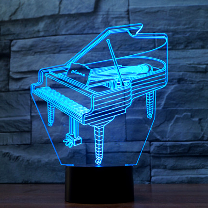 Music Instrument Retro Piano 3D USB LED Lamp 7 Colors Bulb Musician Gift Child Bedroom Decoration