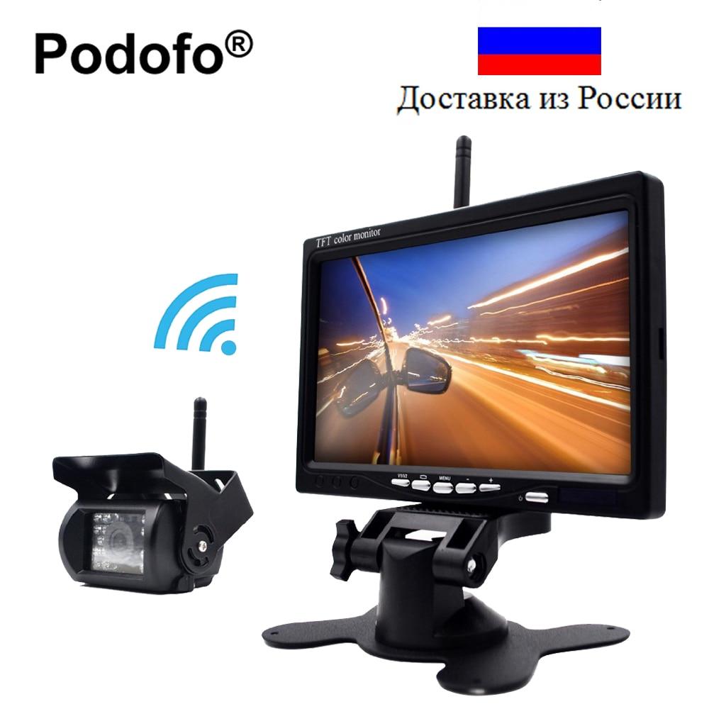 Podofo Wireless Reverse Reversing Camera & IR Night Vision 7 Car Monitor for Truck Bus Caravan RV Van Trailer Rear View Camera