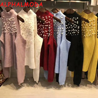 ALPHALMODA Beaded Strapless Off shoulder Sweater Women Winter Sexy Pullovers Solid Color Fashion Jumpers