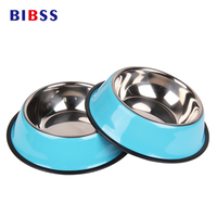 Stainless Steel Dog Bowls Lovely Pet Food Water Drink Dishes Feeder For Cat Puppy Pet Dog