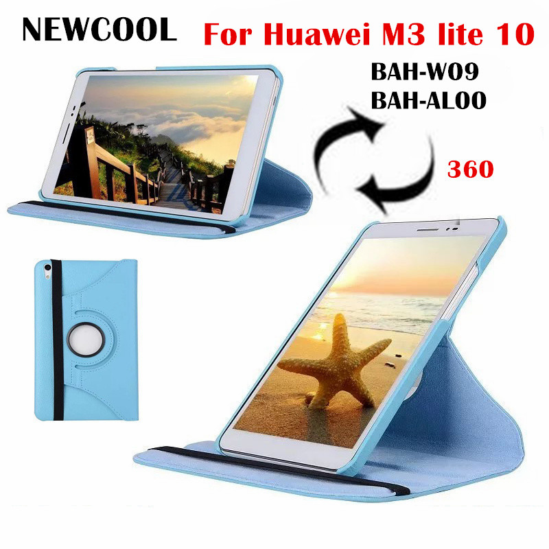 M3 lite 10.0 Rotating Folio PU Leather Case Flip Cover For Huawei MediaPad M3 Lite 10 BAH-W09 BAH-AL00 tablet  Case shell +Film for 2017 huawei mediapad m3 youth lite 8 cpn w09 cpn al00 8 tablet pu leather cover case free stylus free film