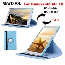 M3 lite 10.0 Rotating Folio PU Funda de Cuero Cubierta Para Caja de la tableta de Huawei MediaPad M3 Lite 10 BAH-W09 BAH-AL00 shell + Film