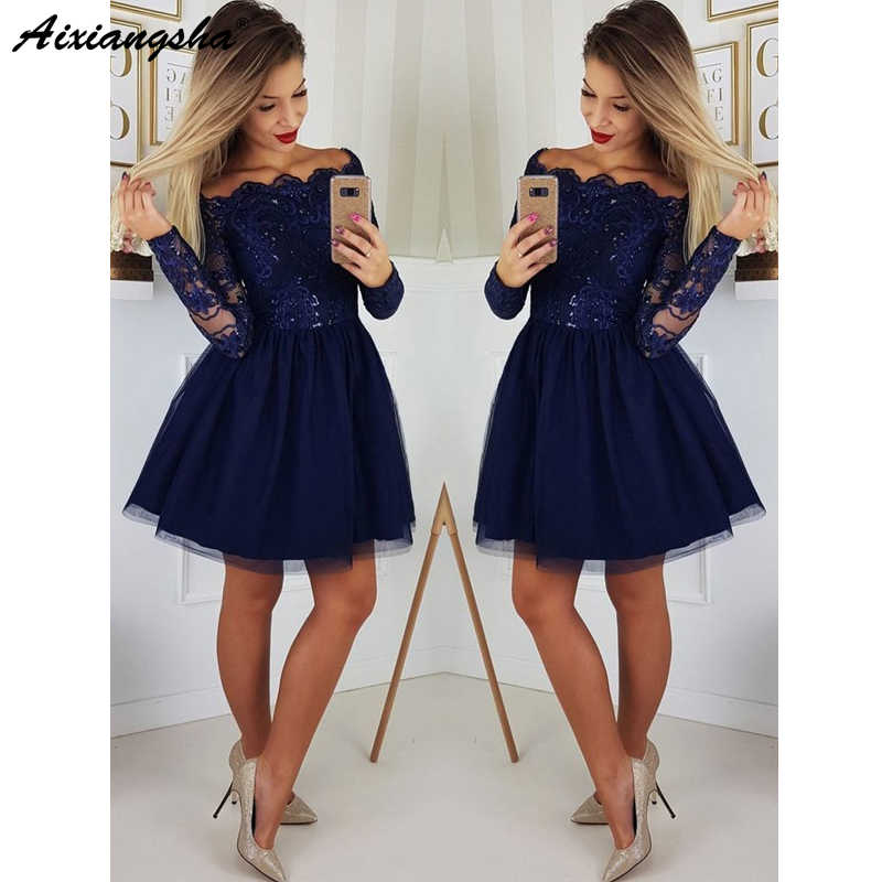 02a709ece3eb2 ... Cute A Line Navy Blue Graduation Prom Dresses Party Dress 2019 Short  Tulle Skirt Long Sleeves ...