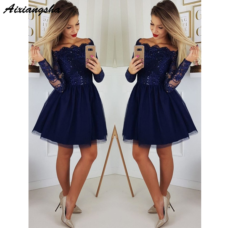 Cute A Line Navy Blue Graduation Prom Dresses Party Dress 2019 Short Tulle Skirt Long Sleeves Lace Homecoming Dresses a-line