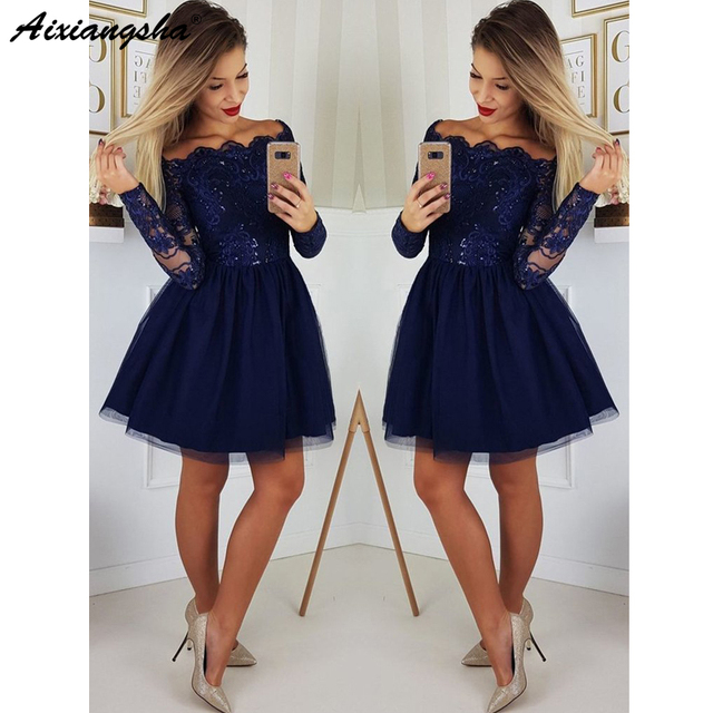 ea6def20a1 Cute A Line Navy Blue Graduation Prom Dresses Party Dress 2019 Short Tulle  Skirt Long Sleeves