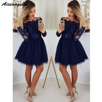 Cute A Line Navy Blue Graduation Prom Dresses Party Dress 2019 Short Tulle Skirt Long Sleeves Lace Homecoming Dresses
