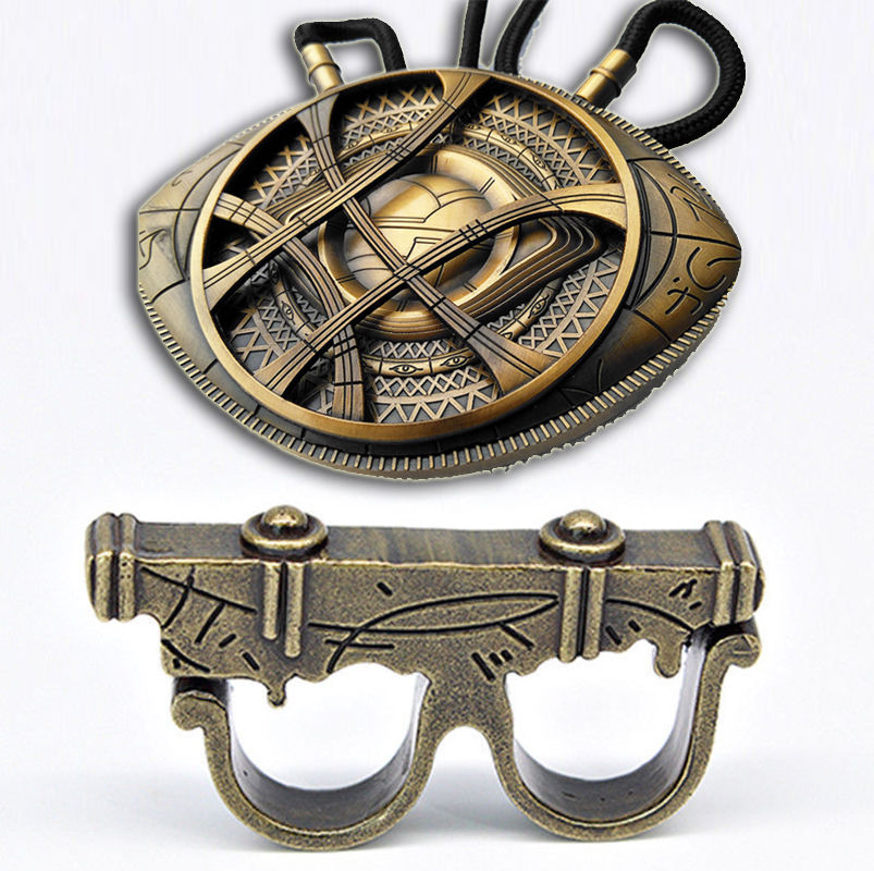 Dr 1:1 Doctor Strange Ring + Necklace Eye Of Agamotto Pendant Cosplay Prop Dr. Singularity Long Necklace Movie Jewelry