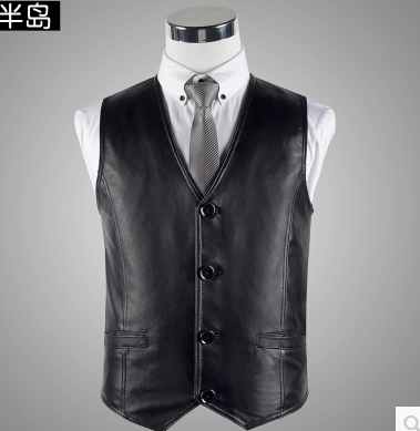 Spring 2018 new male sheep skin leather vest fashion casual young high-quality leather vest XL-3XL bust 100-120cm