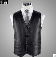Spring 2019 new male sheep skin leather vest fashion casual young high quality leather vest XL 3XL bust 100 120cm
