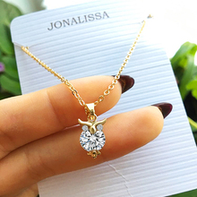 Шарм аксесуары Hot Sale Cute 18k Gold Silver Chain Necklace Crystal Zircon Lovely Owl Pendants Necklace Fine Jewelry For Women joyas CS13 бижутерия колье украшения украшение на шею