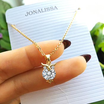 2019 New Zircon Pendants Owl Necklace For Women Crystal Heart Gold Sliver Color Long Fashion Jewelry Christmas